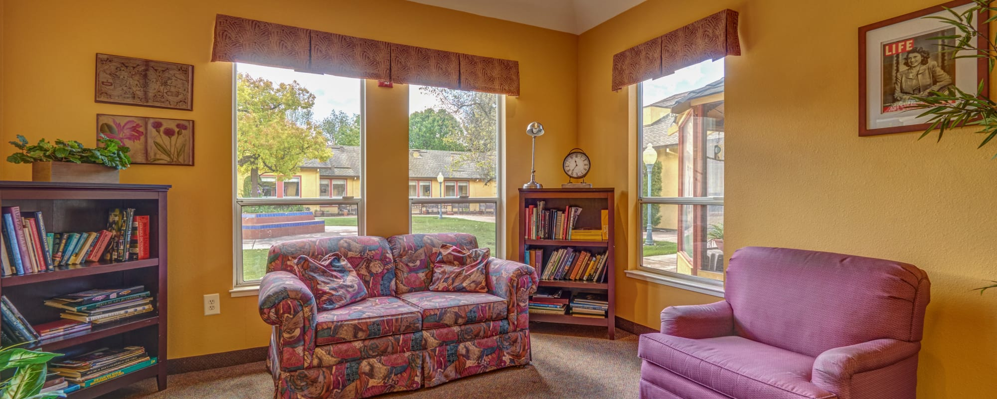 Living space at senior living community in Petaluma, California
