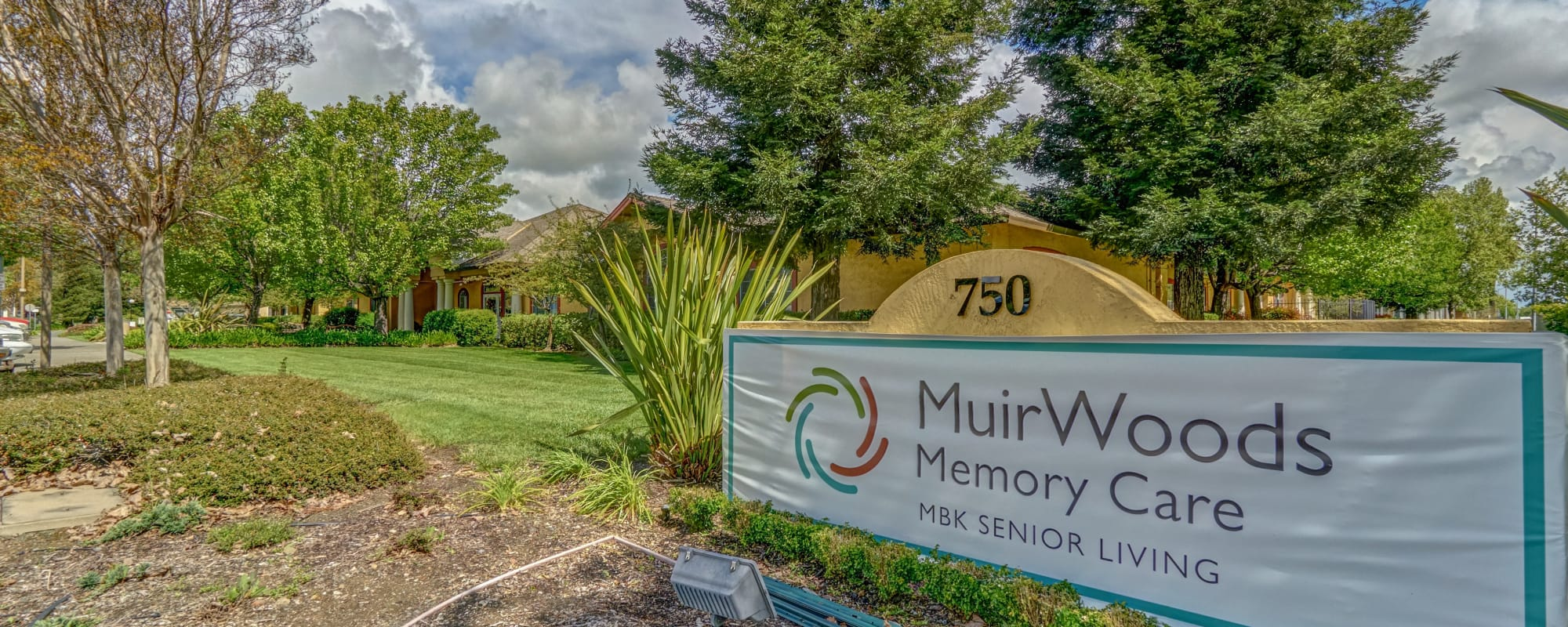 Welcome sign at MuirWoods Memory Care in Petaluma, California