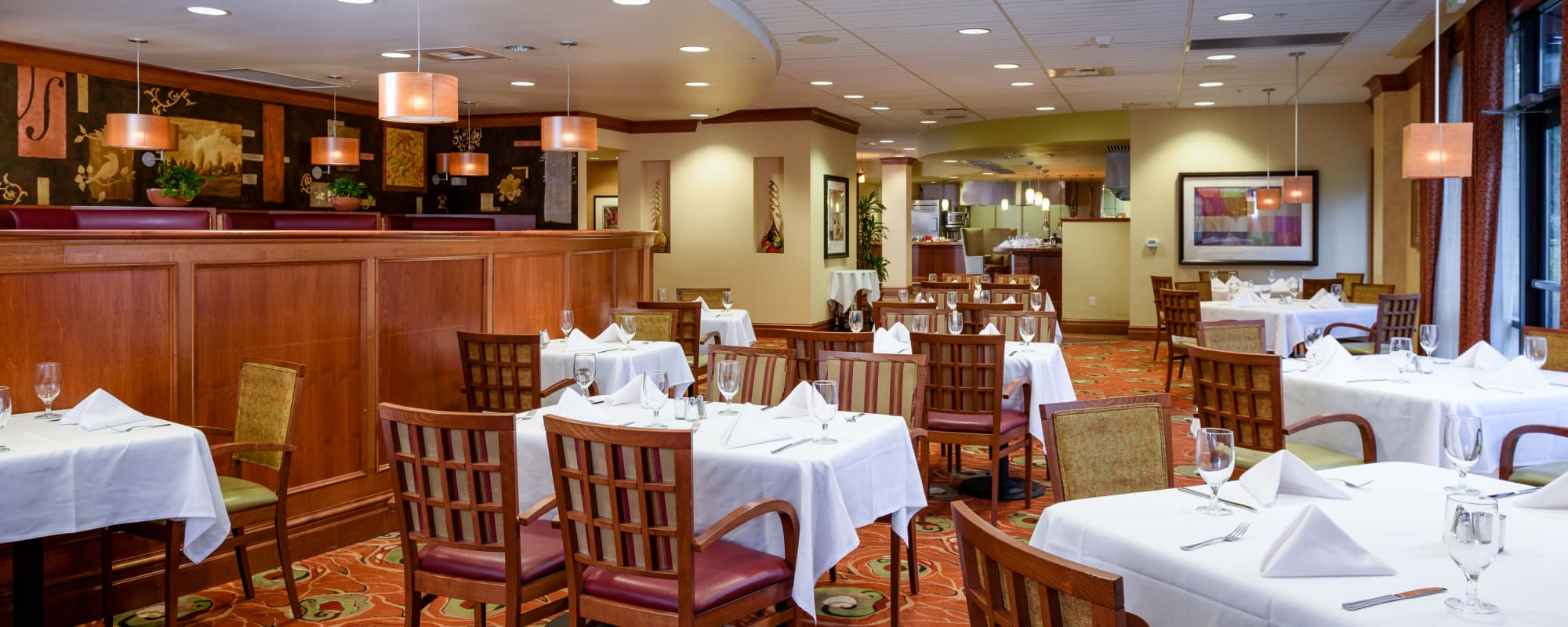 Dining area at The Bellettini in Bellevue, Washington