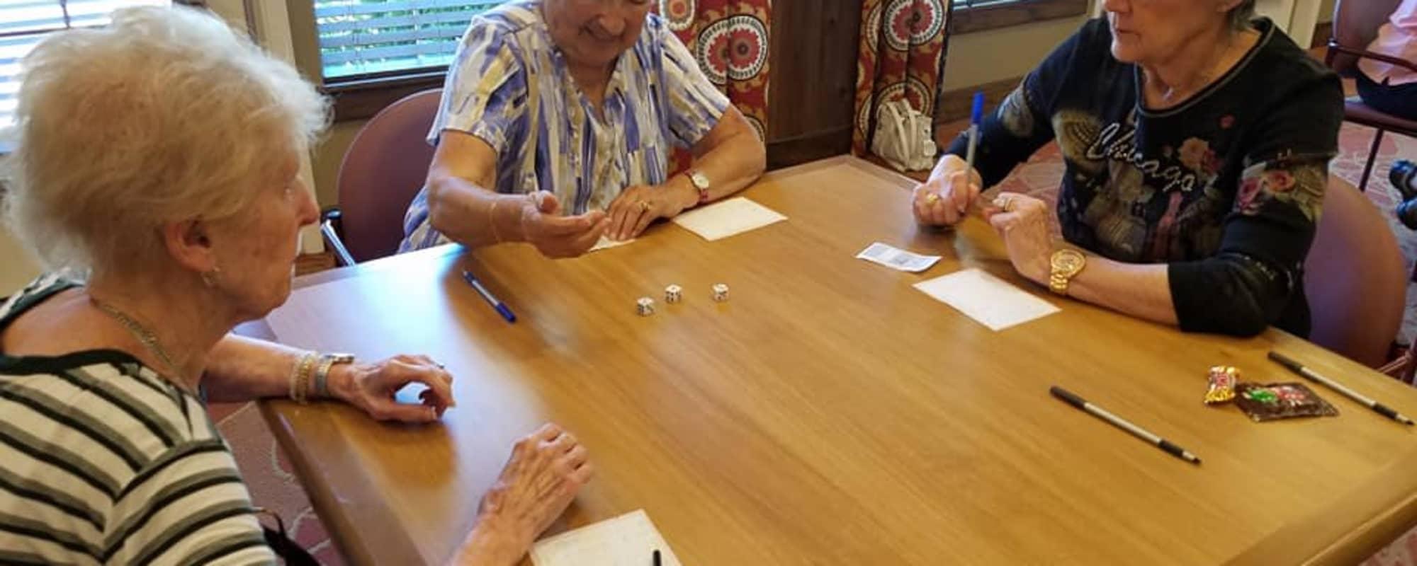 Residents playing board games at Oakmont Gardens in Santa Rosa, California