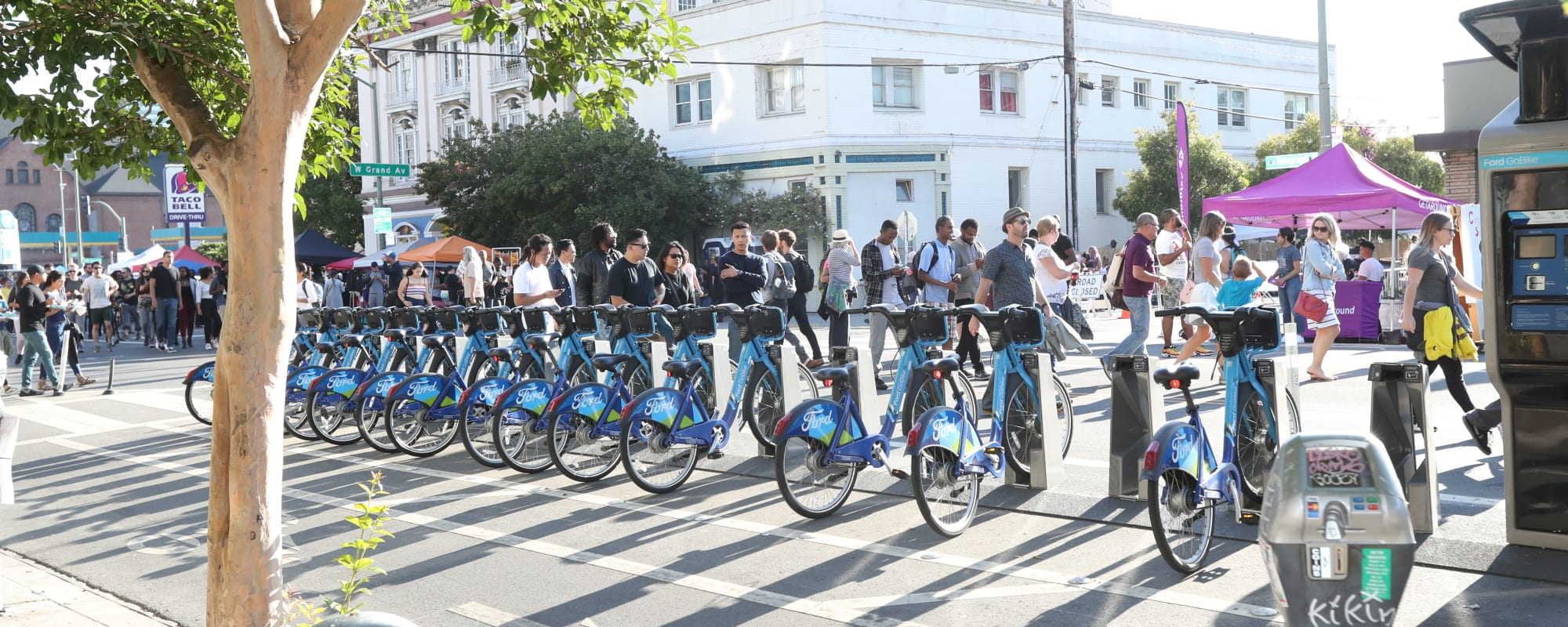 Line of rentable bikes near The Moran in Oakland, California