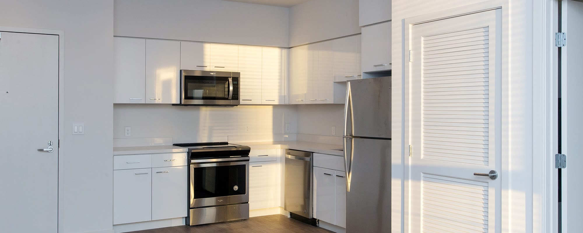 Apartments with stainless steel appliances at The Moran
