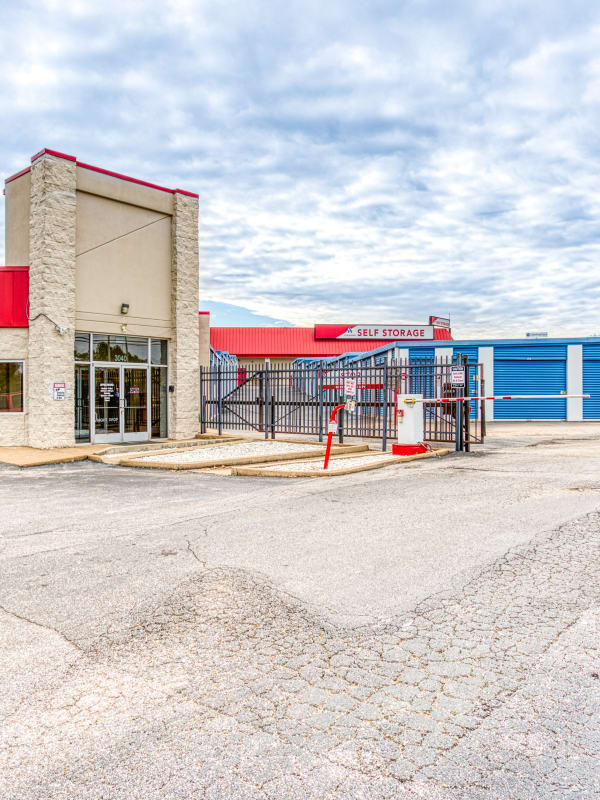 Gated entry leading into Devon Self Storage in Memphis, Tennessee