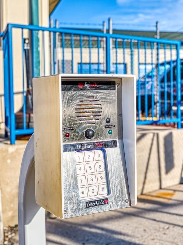 Keypad into gated entry Devon Self Storage in Milwaukee, Wisconsin