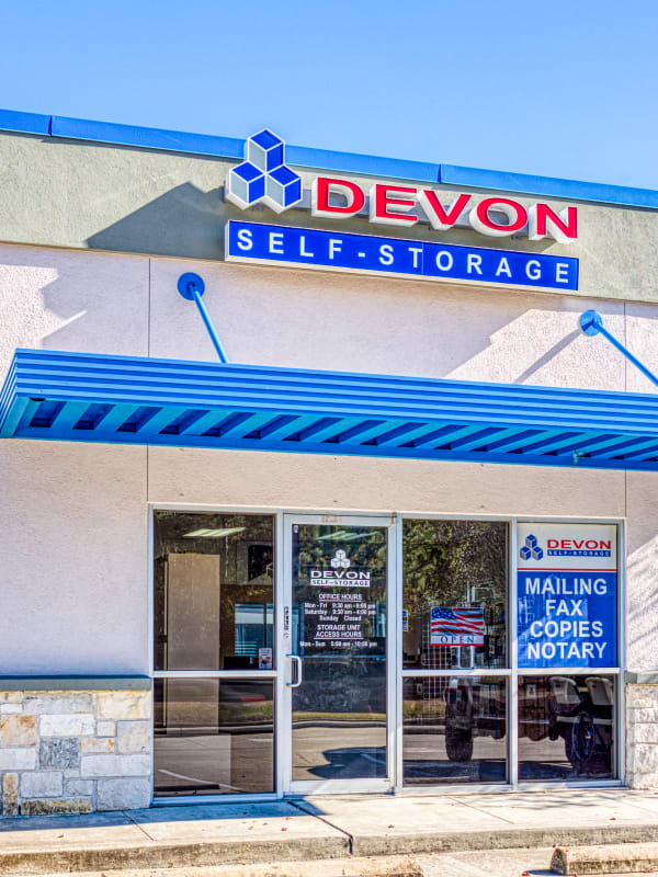 The leasing office in Spring, Texas at Devon Self Storage