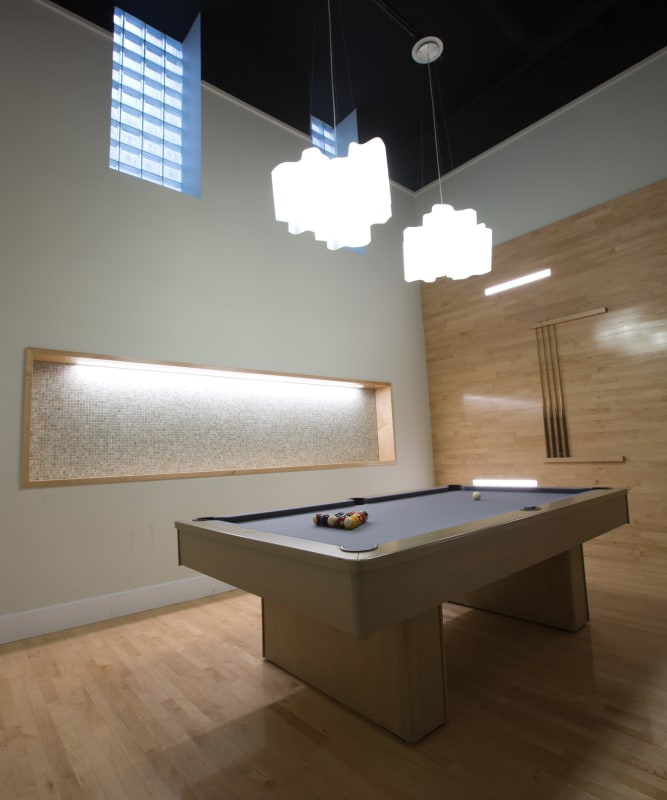 A modern billiards room at The Metropolis in New York, New York