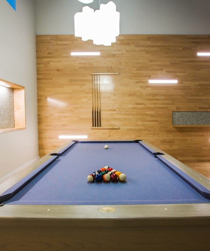 A billiards table for resident use at The Metropolis in New York, New York