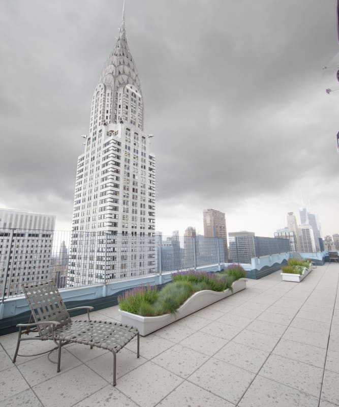 A spacious rooftop patio at The Metropolis in New York, New York