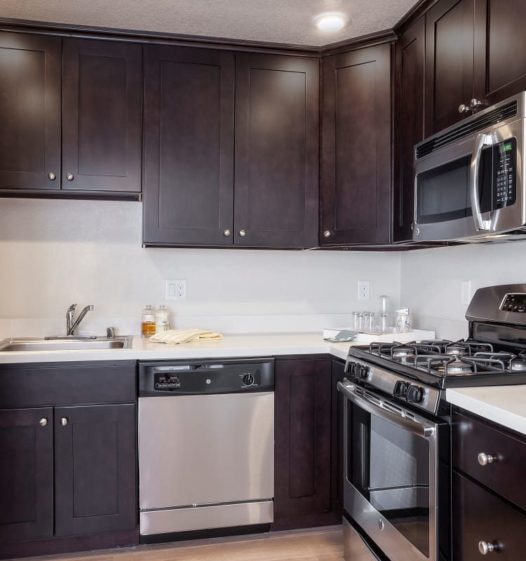 Kitchen with plenty of cabinet space at Palo Alto Plaza in Mountain View, California