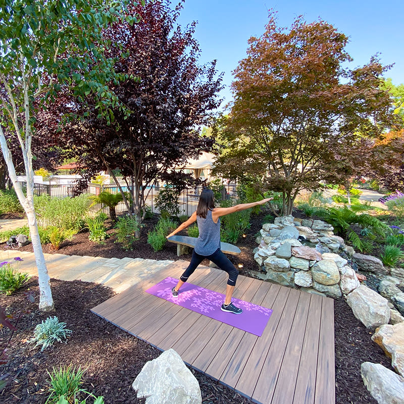 Resident meditating in Cupertino, California at Glenbrook Apartments