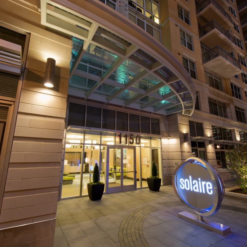 The front entrance to Solaire 1150 Ripley in Silver Spring, Maryland