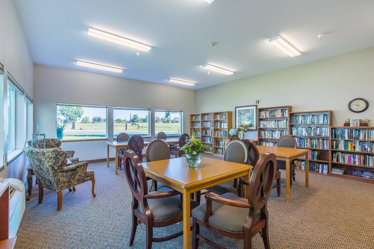 Library with reading area at Sun Terrace Hermiston