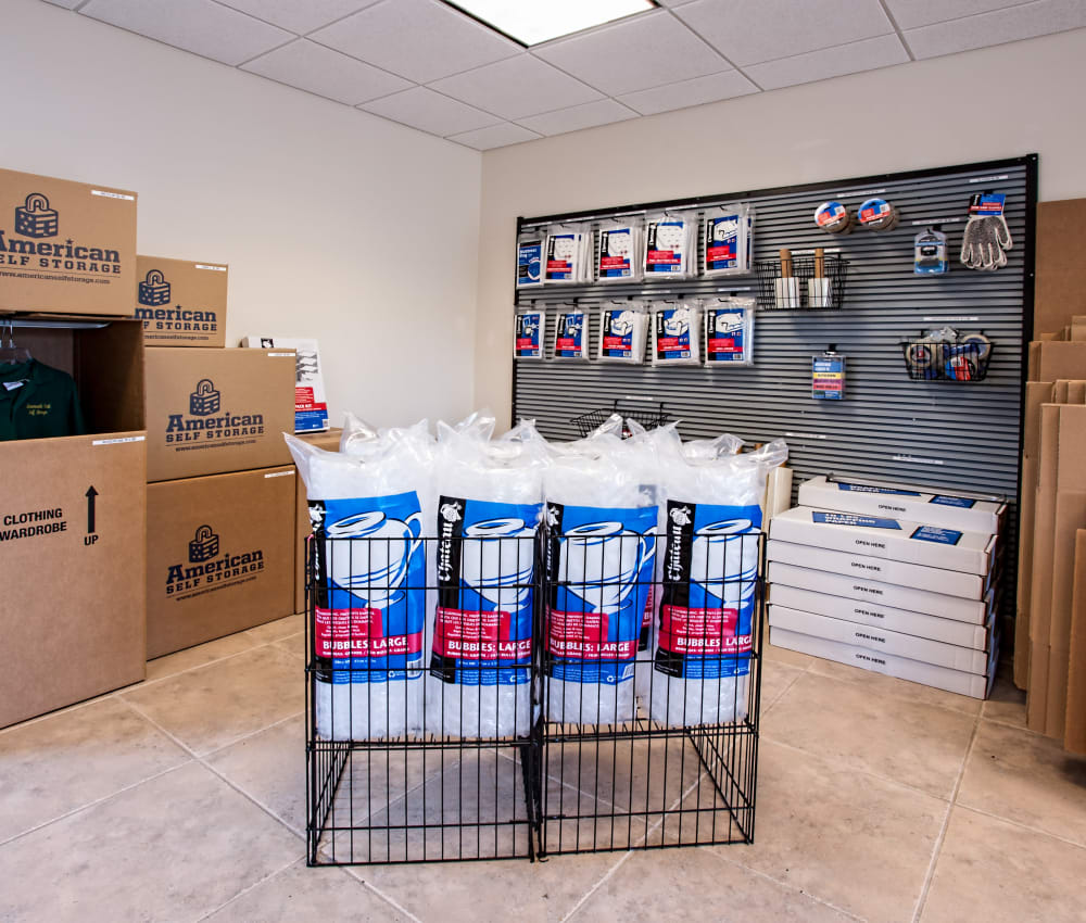 Supplies for sale at American Self Storage in West Long Branch, New Jersey