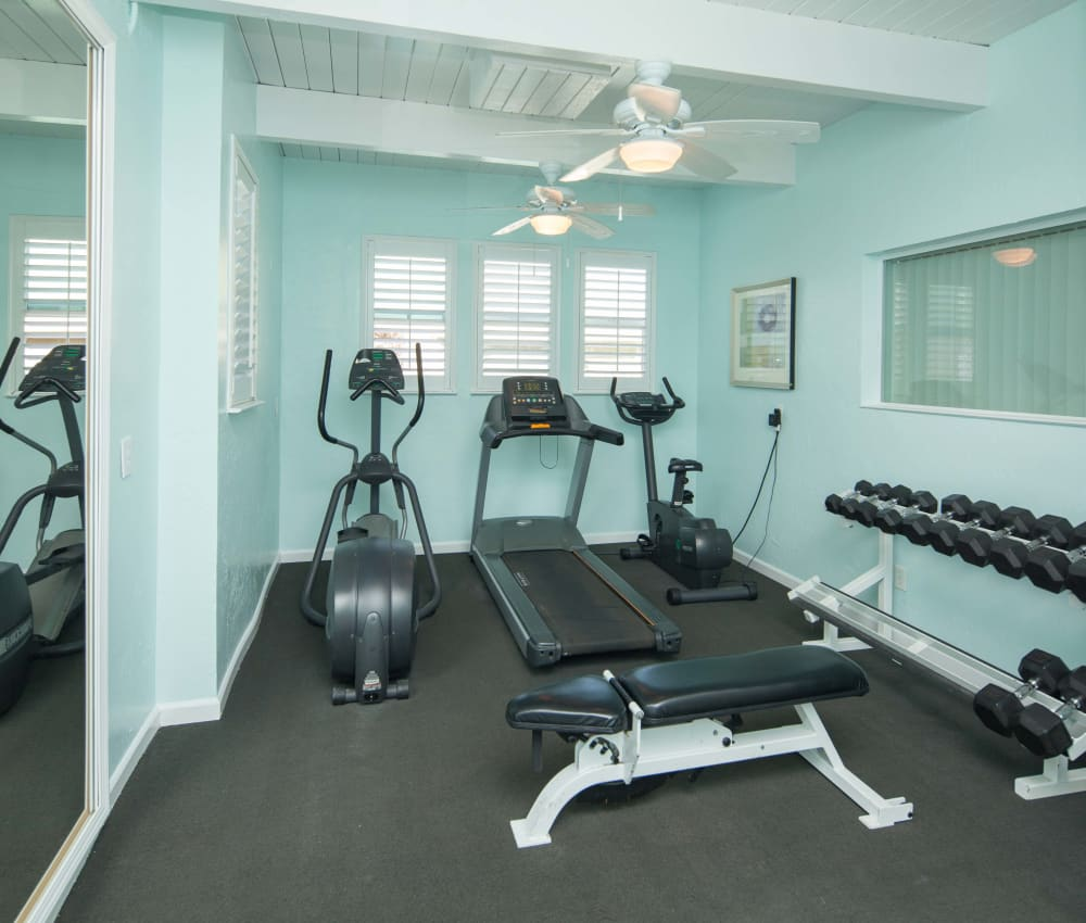 Fitness center with equipment at Breakwater Apartments in Santa Cruz, California