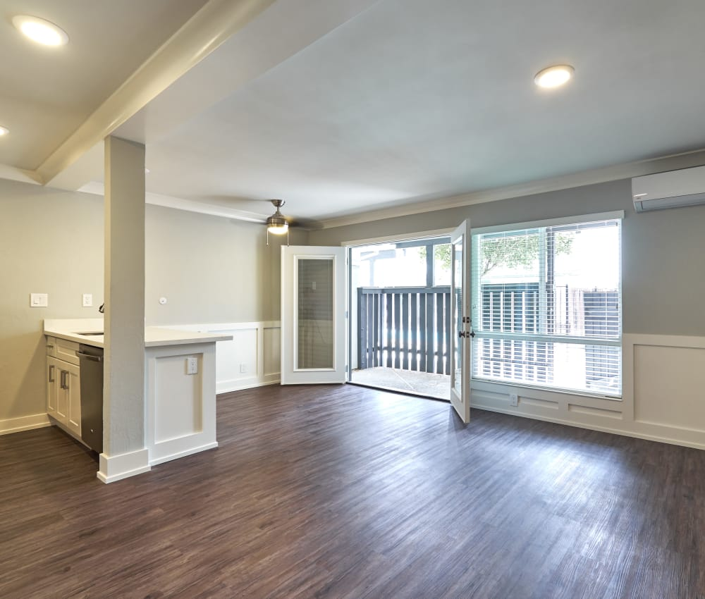 Spacious living room with an open floor plan and hardwood floors at Ladera in Lafayette, California