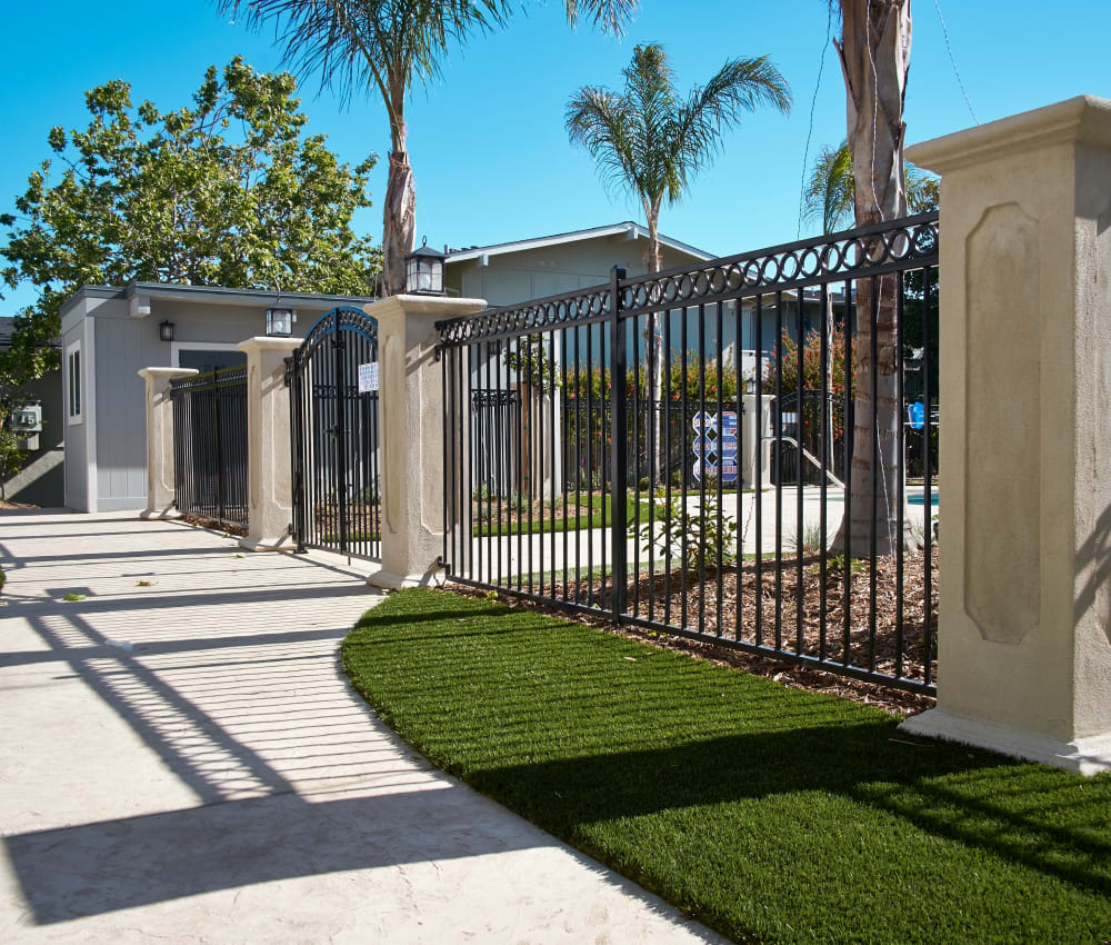 Gated entry to the pool area at Palmetto at Tiburon View in Tiburon, California