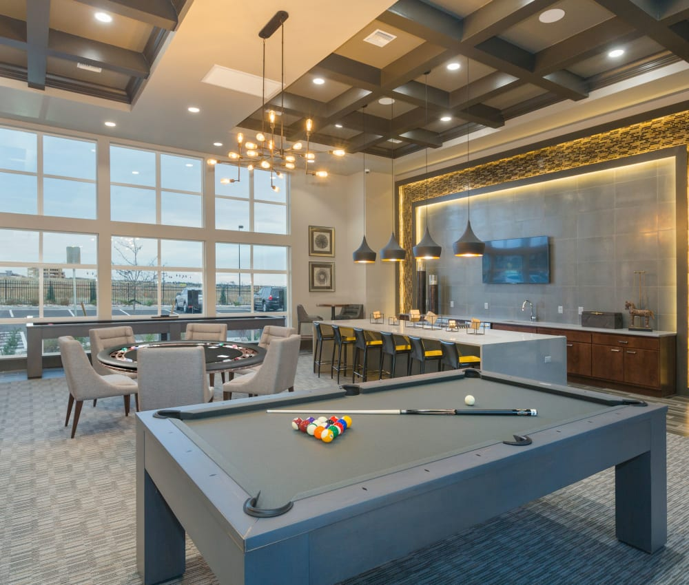 Recreation room with a billiards table at The Overlook at Interquest in Colorado Springs, Colorado