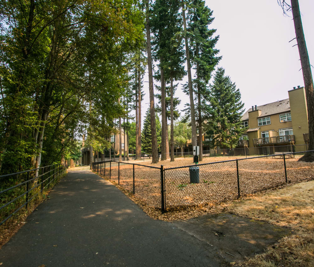 Dog walking trail and dog park at The Colonnade Luxury Townhome Rentals in Hillsboro, Oregon
