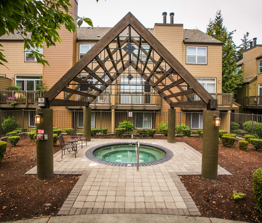 Stunning hot tub area at The Colonnade Luxury Townhome Rentals in Hillsboro, Oregon
