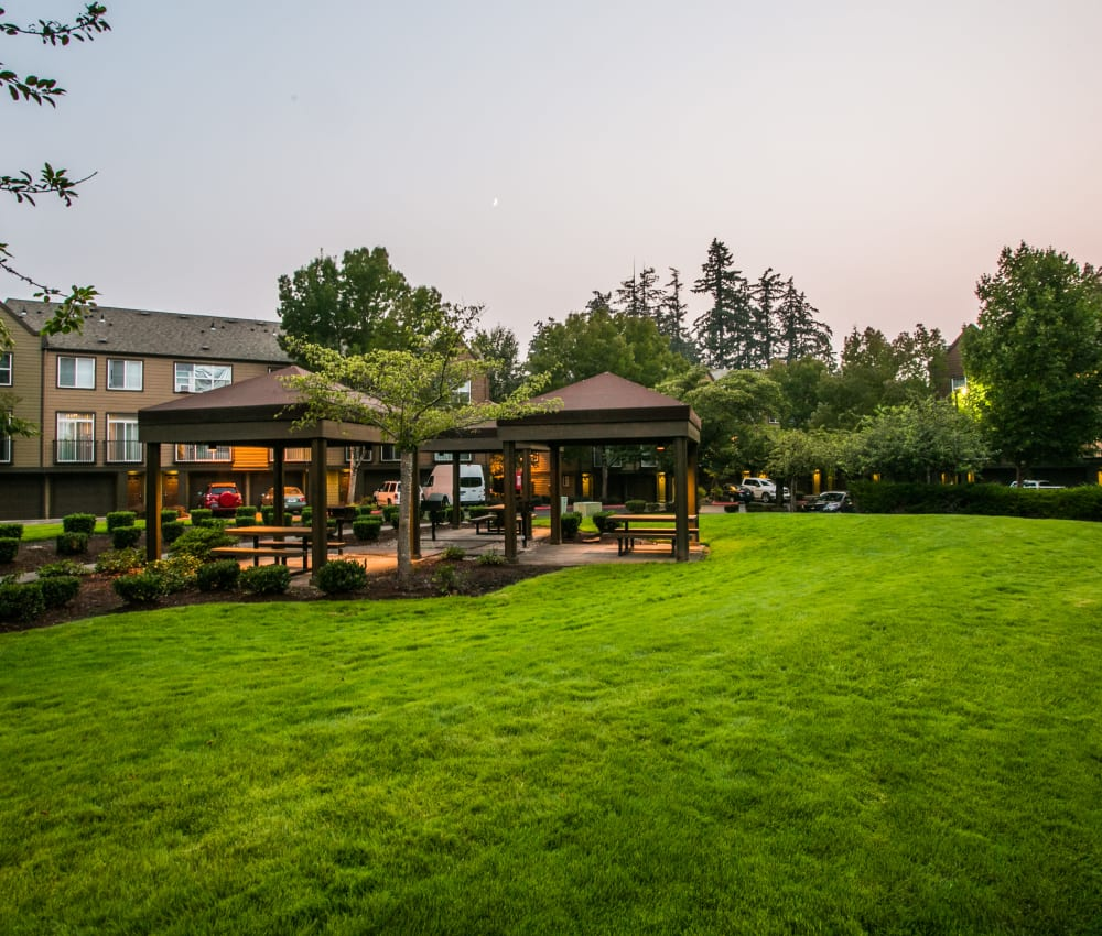 Lush lawn next to The Colonnade Luxury Townhome Rentals's picnic area in Hillsboro, Oregon