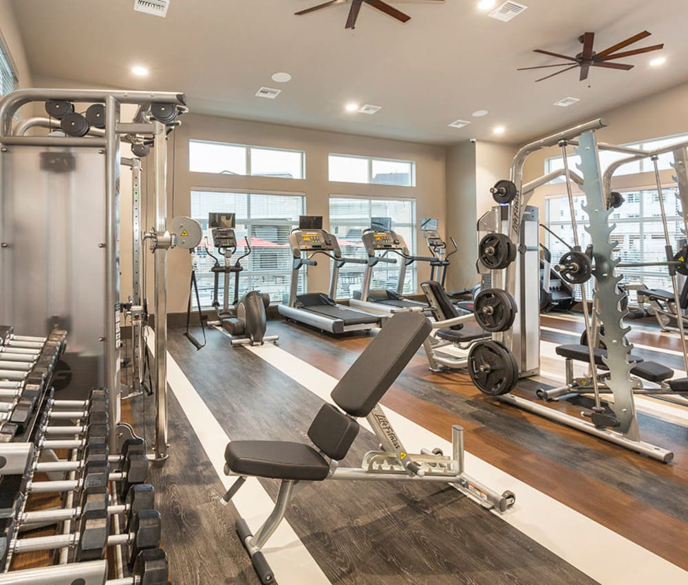 Large, bright fitness center at The Overlook at Interquest in Colorado Springs, Colorado