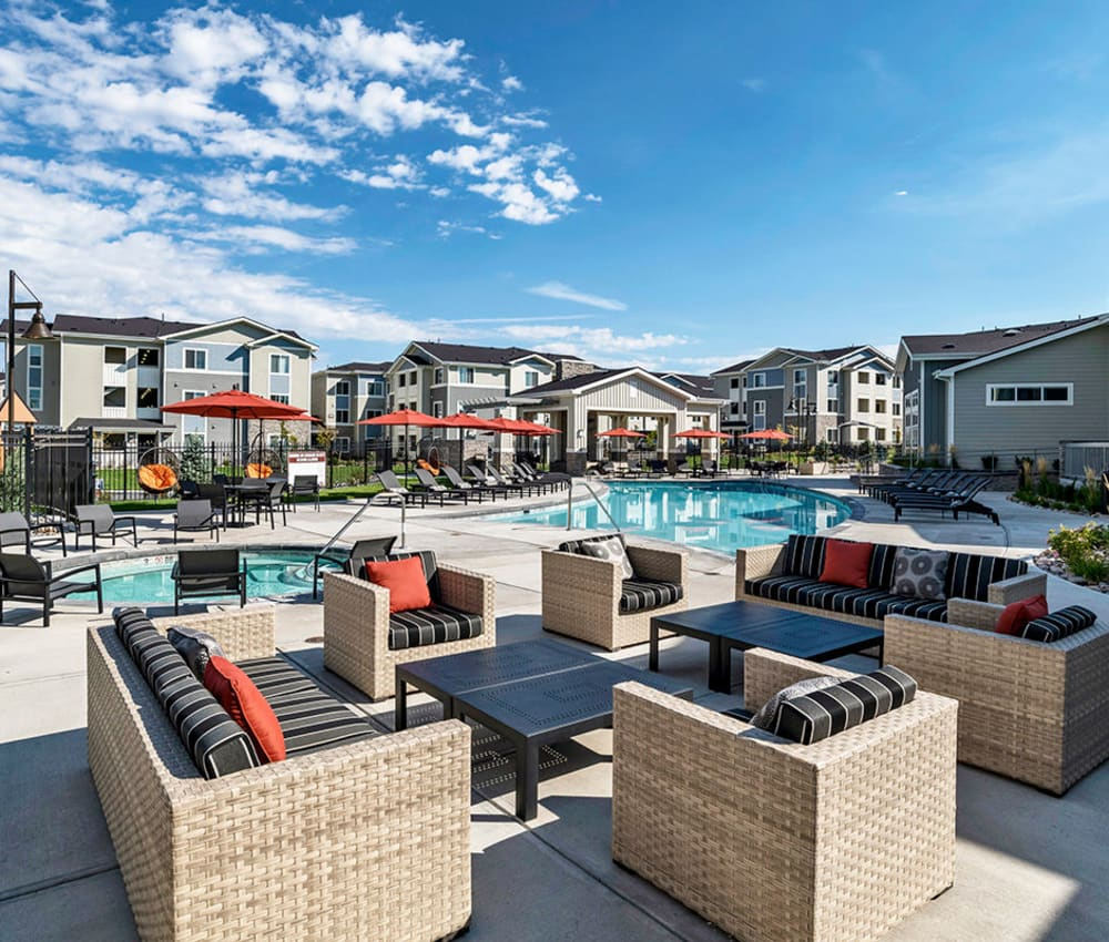 Outdoor lounge at The Overlook at Interquest in Colorado Springs, Colorado