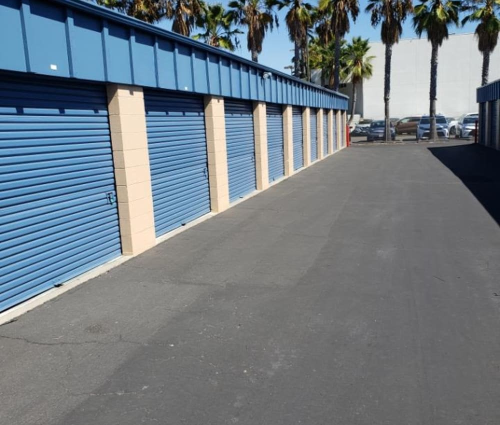 Row of storage units at AAA Alliance Self Storage in San Diego, California