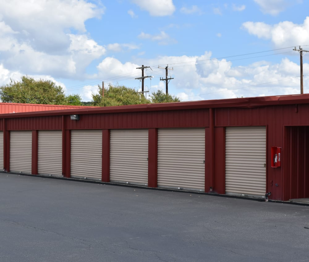 Row of outdoor storage units at AAA Alliance Self Storage in San Antonio, Texas