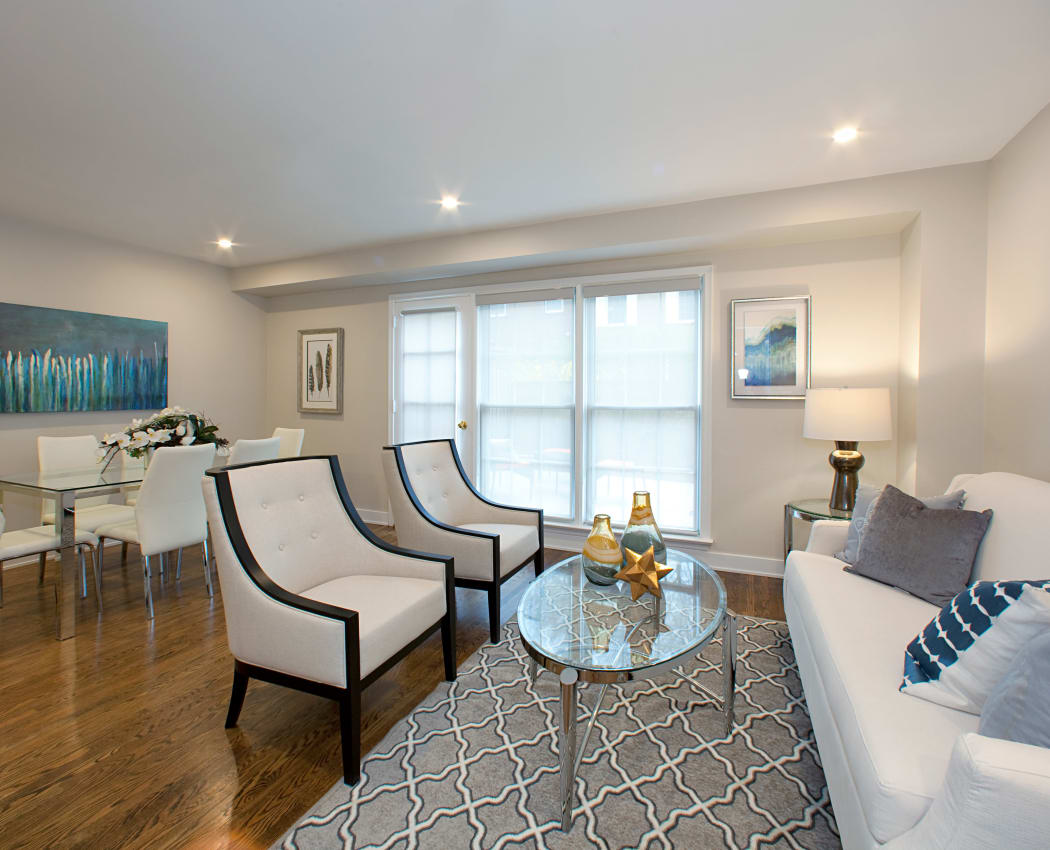 Bright living room at Lion's Gate in Etobicoke