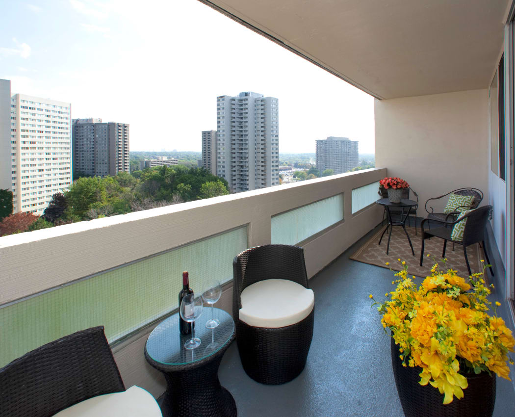 Beautiful balcony views at Mississauga Place in Mississauga, Ontario