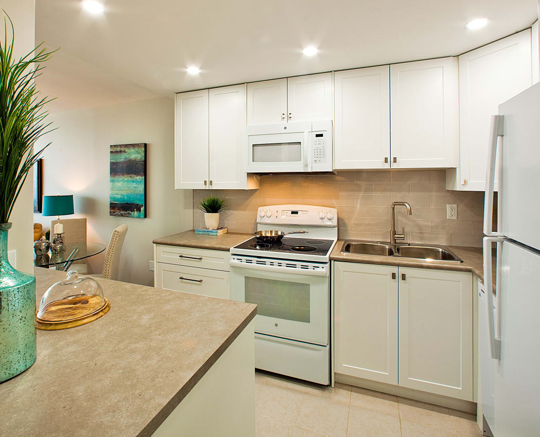 Naturally well-lit kitchen at apartments at Applewood on the Park in Mississauga, Ontario