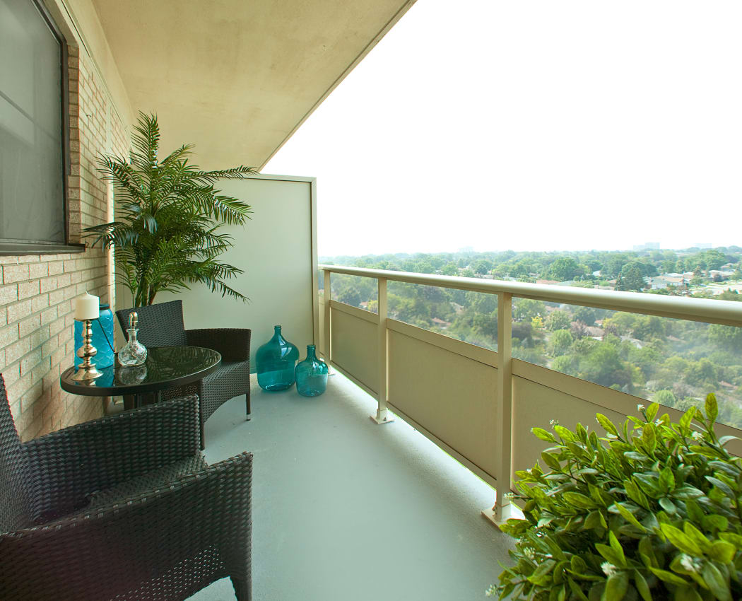 Unique private balcony in our Mississauga, Ontario apartments