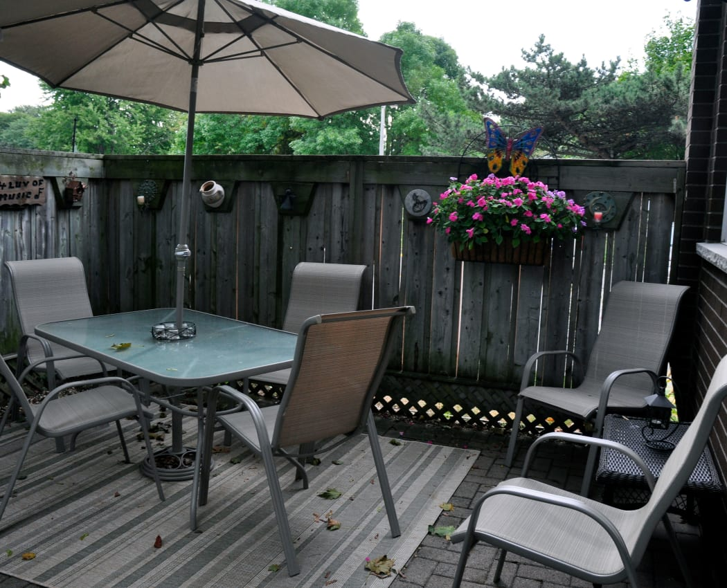 A private patio at Georgian Court Estates in Burlington