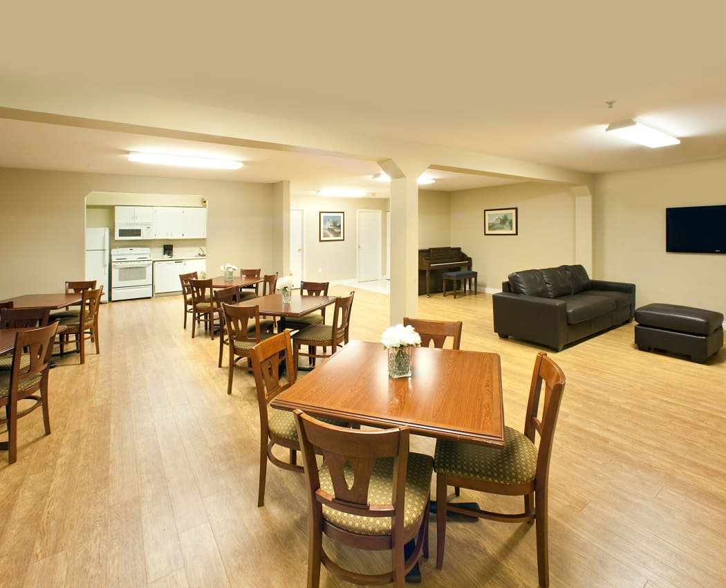 Communal dining area at StoneCrest Village in Halifax