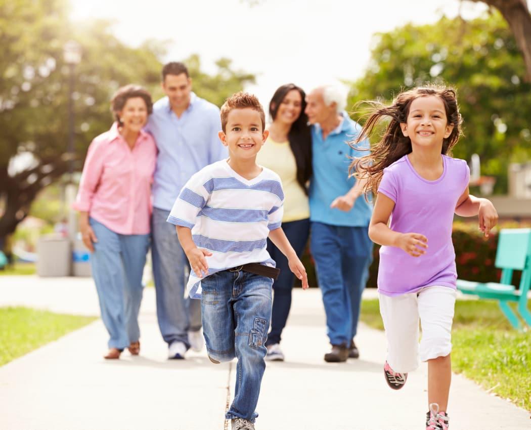 Children running near President Village in Fall River, Massachusetts
