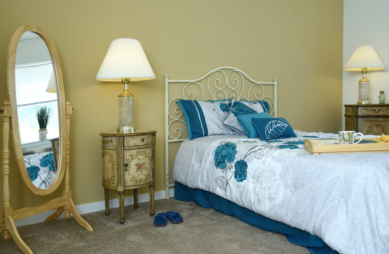 Resident bedroom at Mattison Crossing at Manalapan Avenue in Freehold, New Jersey.
