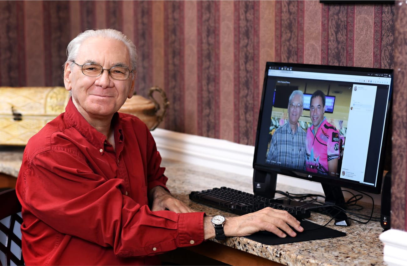 Senior man on computer