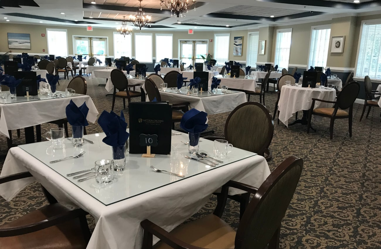 Dining room at  at Mattison Crossing at Manalapan Avenue in Freehold, New Jersey
