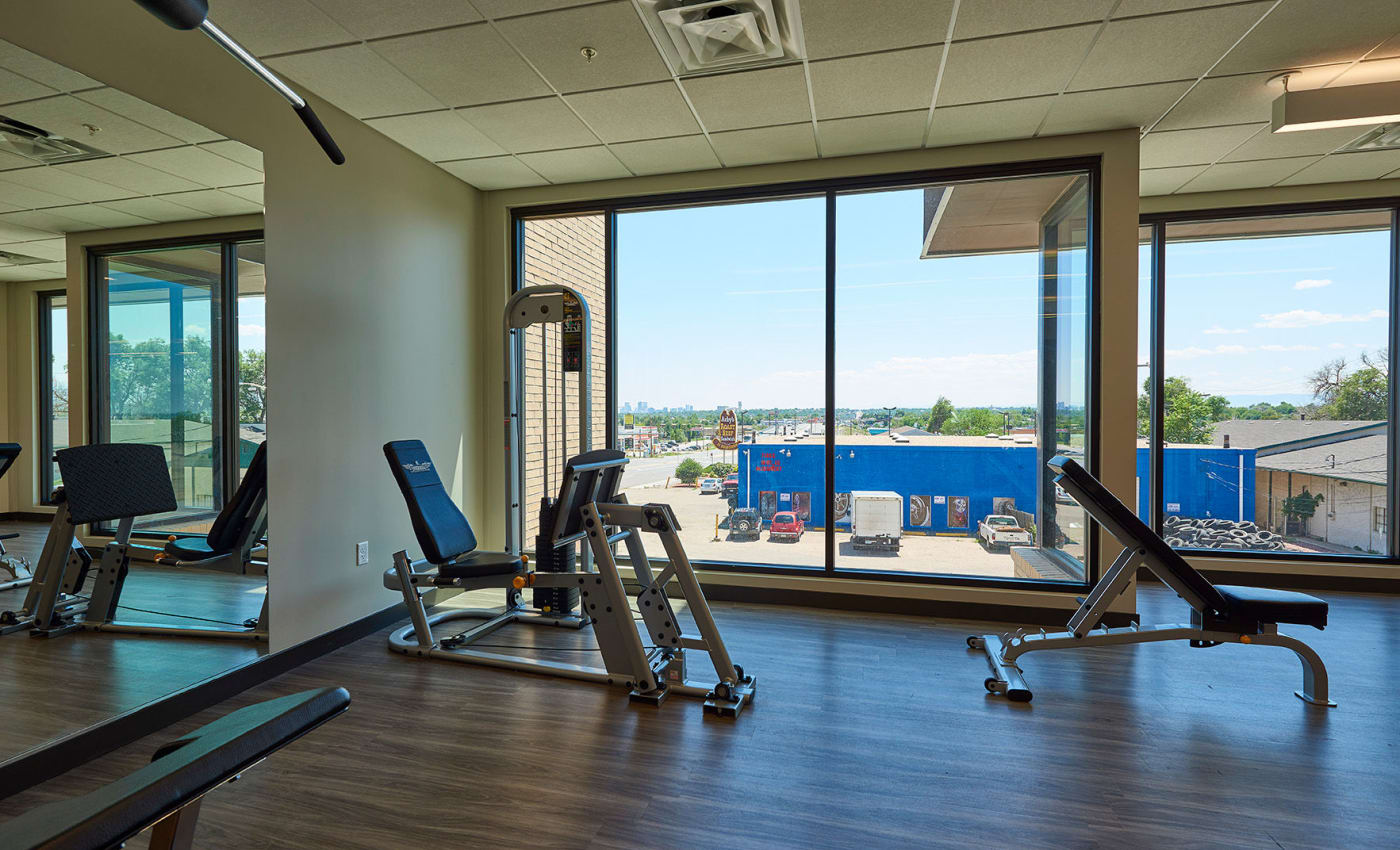 Wonderful views of the neighborhood from bay windows in the fitness center at ALTO in Westminster, CO