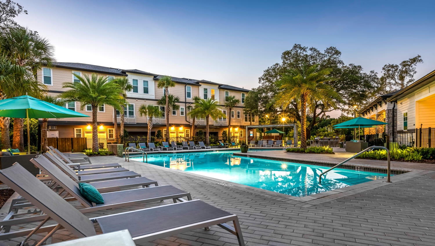 Dusk at the swimming pool area at Canopy at Citrus Park in Tampa, Florida