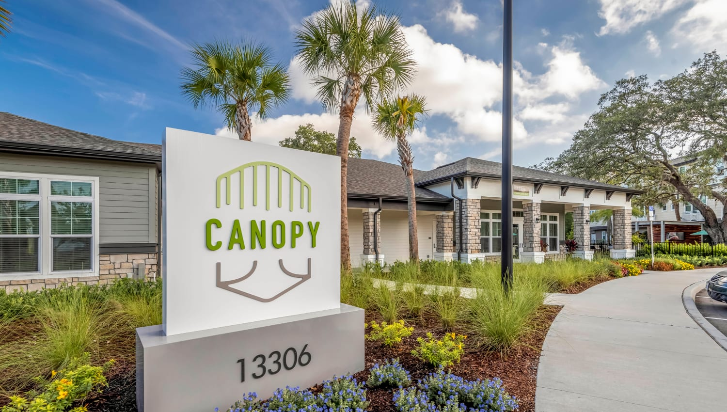 Our monument sign welcoming residents and guests to Canopy at Citrus Park in Tampa, Florida