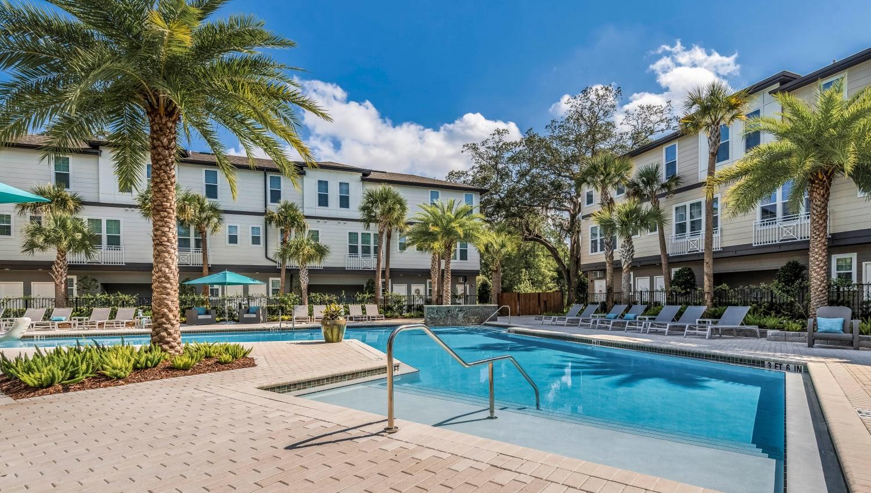 Beautiful morning at the pool at Canopy at Citrus Park in Tampa, Florida