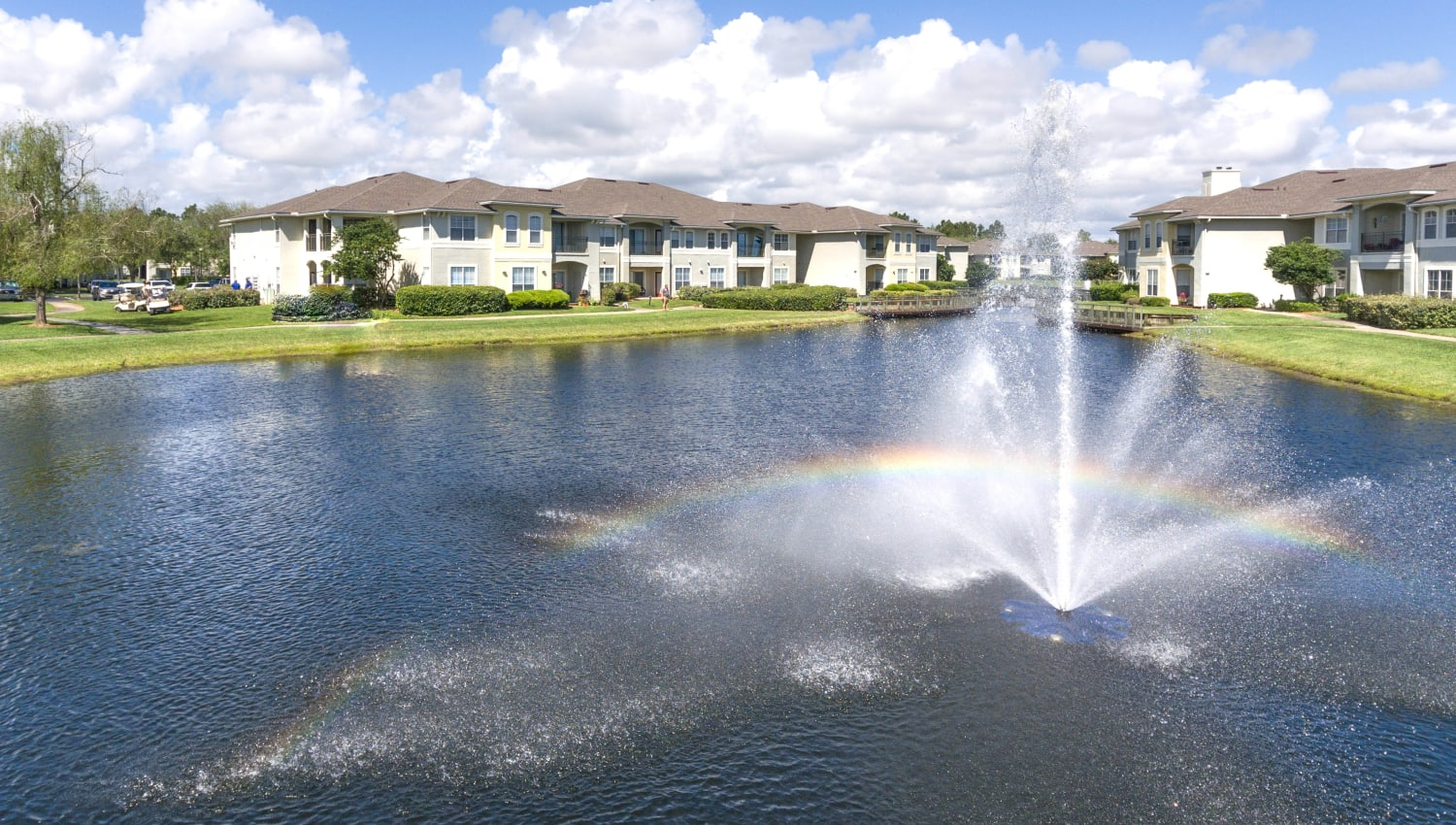 Fountain in the lake at our luxury community at Cape House in Jacksonville, Florida