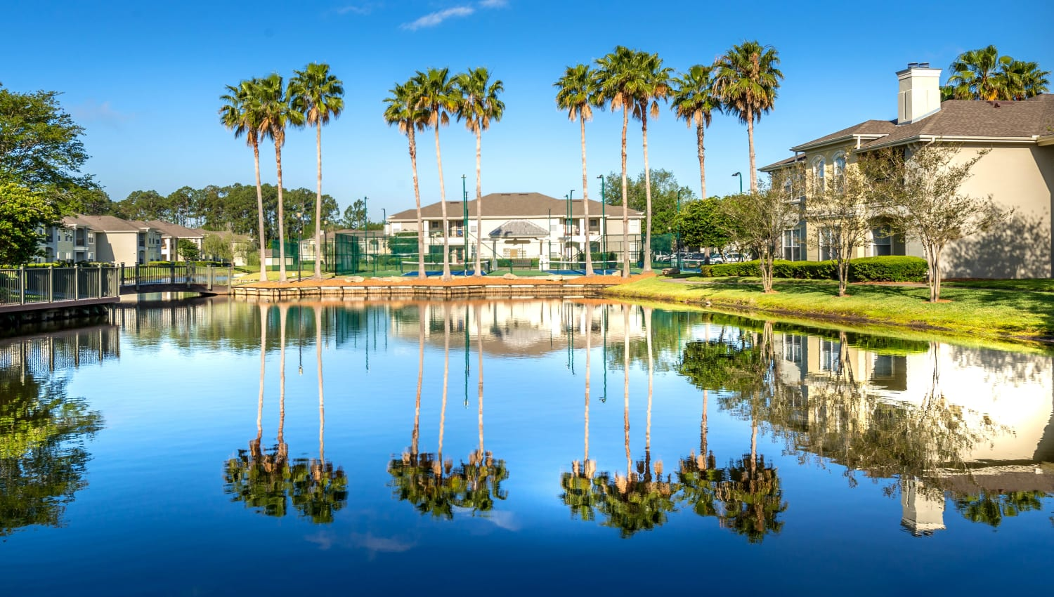 Palm trees mirrored across the serene onsite lake at Cape House in Jacksonville, Florida