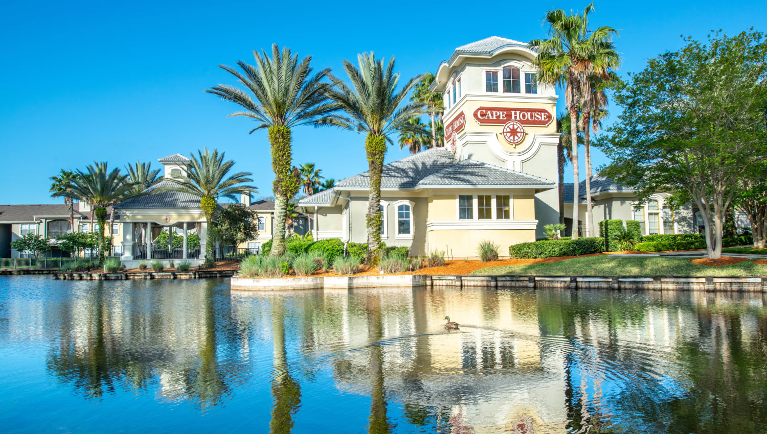 Resident clubhouse on the lake at Cape House in Jacksonville, Florida
