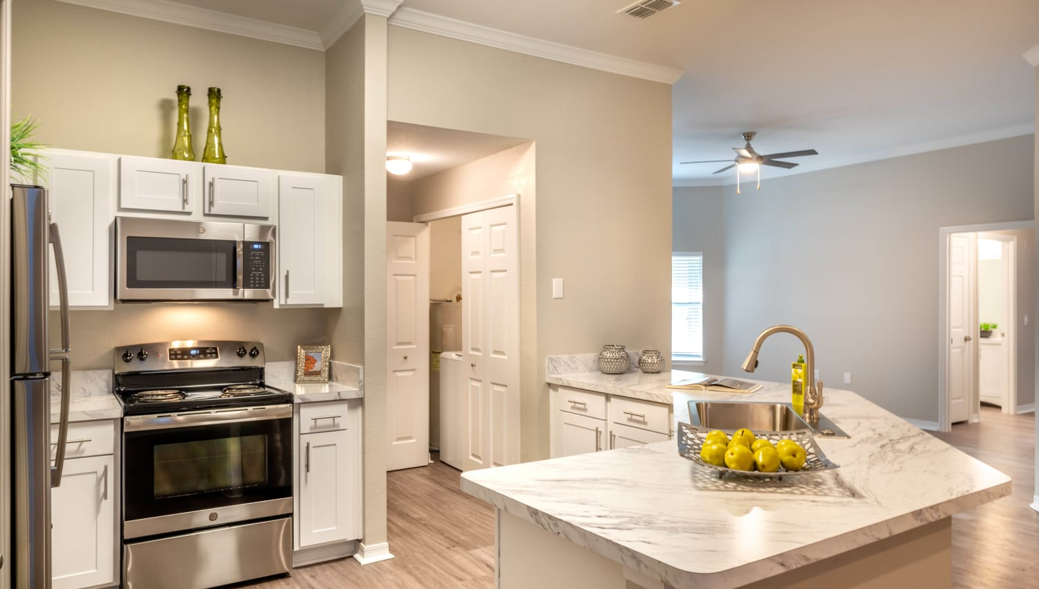 Gourmet kitchen in a model home at Cape House in Jacksonville, Florida