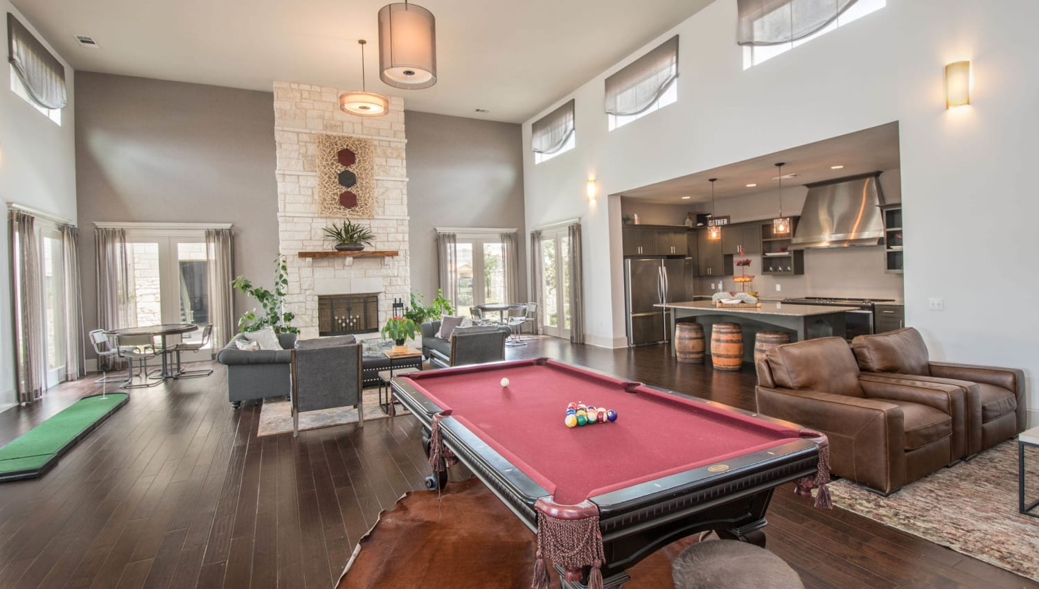 Billiards table and more in the game room at Carrington Oaks in Buda, Texas