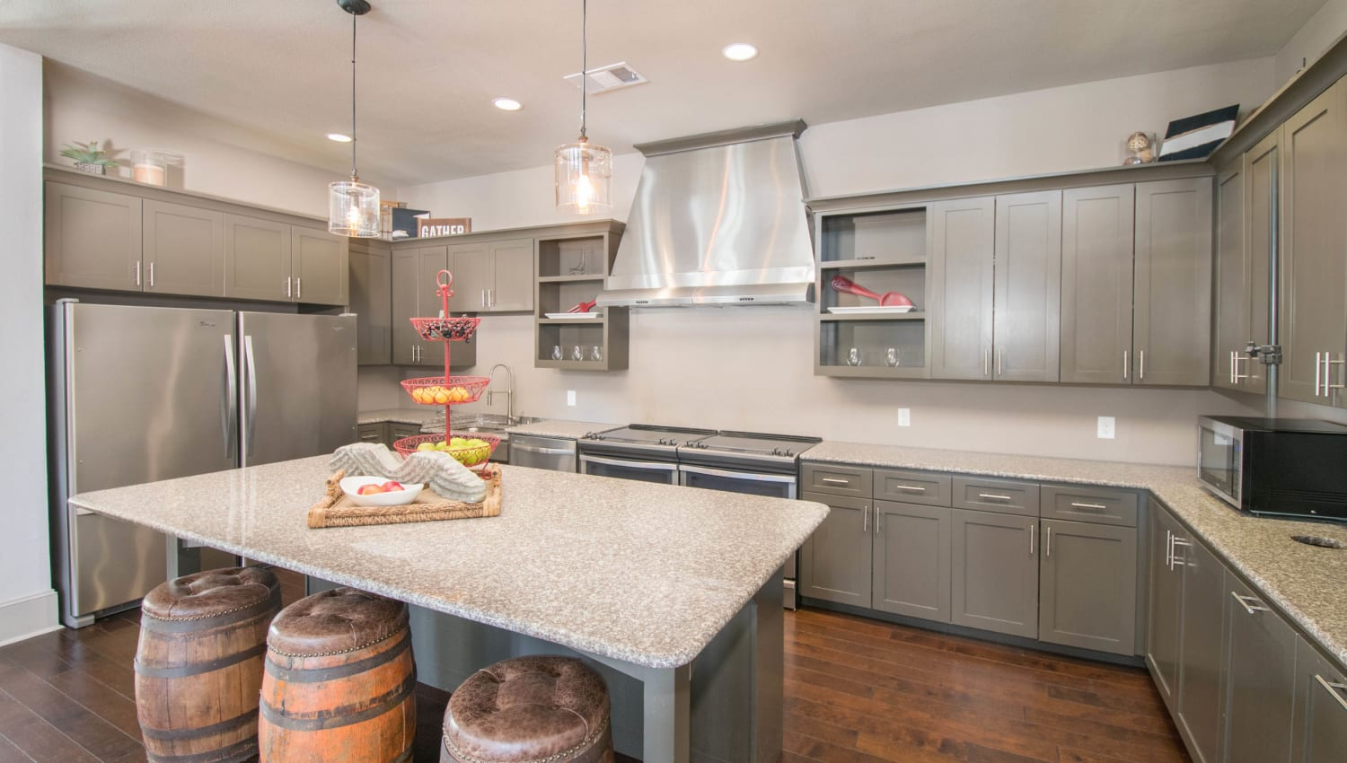 Demonstration kitchen for resident use in the clubhouse at Carrington Oaks in Buda, Texas