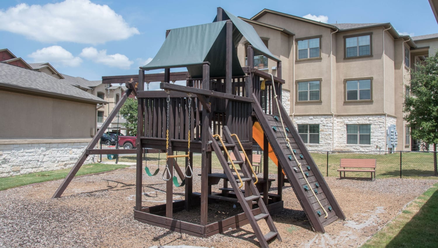 Onsite children's playground at Carrington Oaks in Buda, Texas