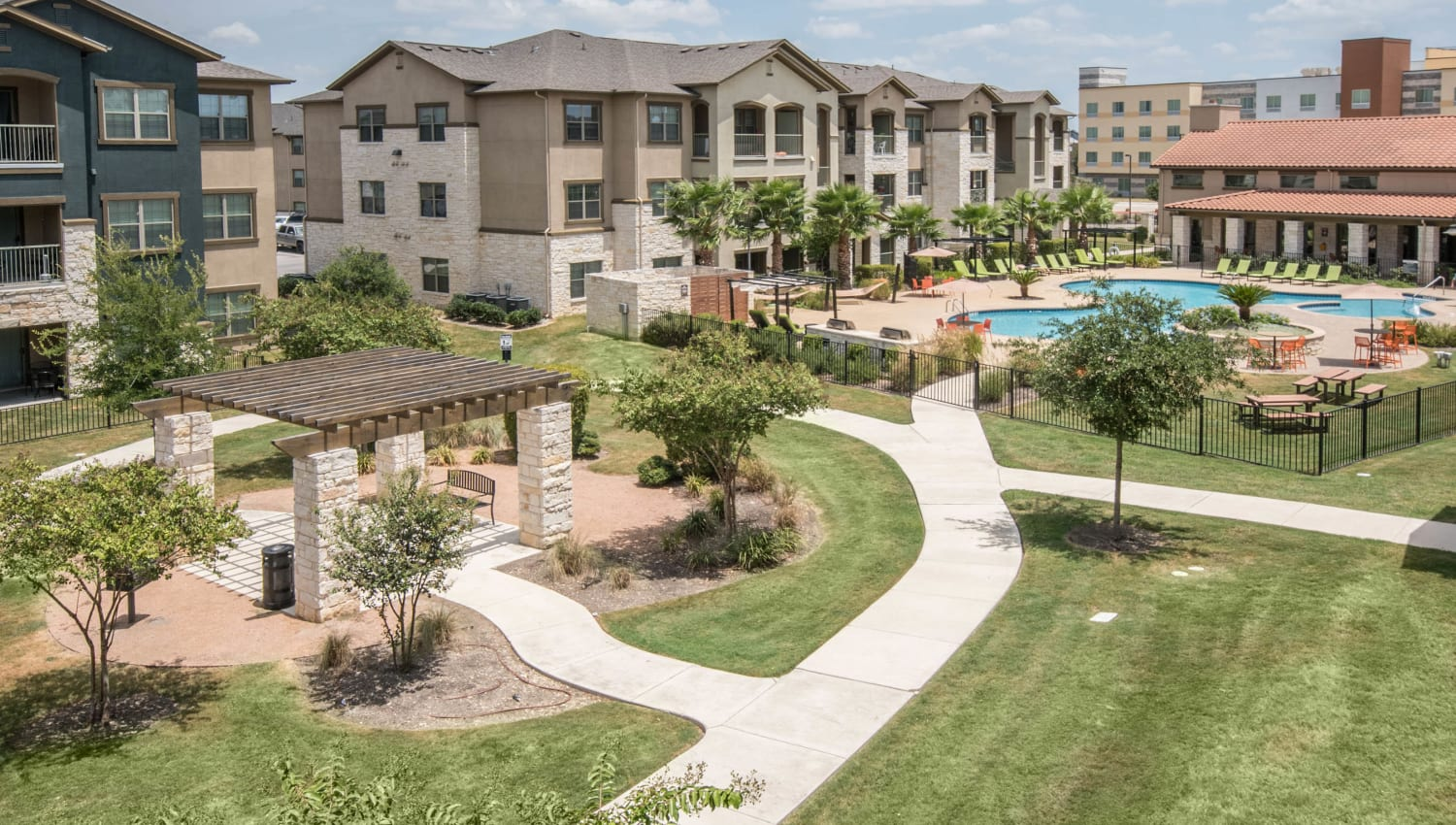 Walkways connecting the community at Carrington Oaks in Buda, Texas